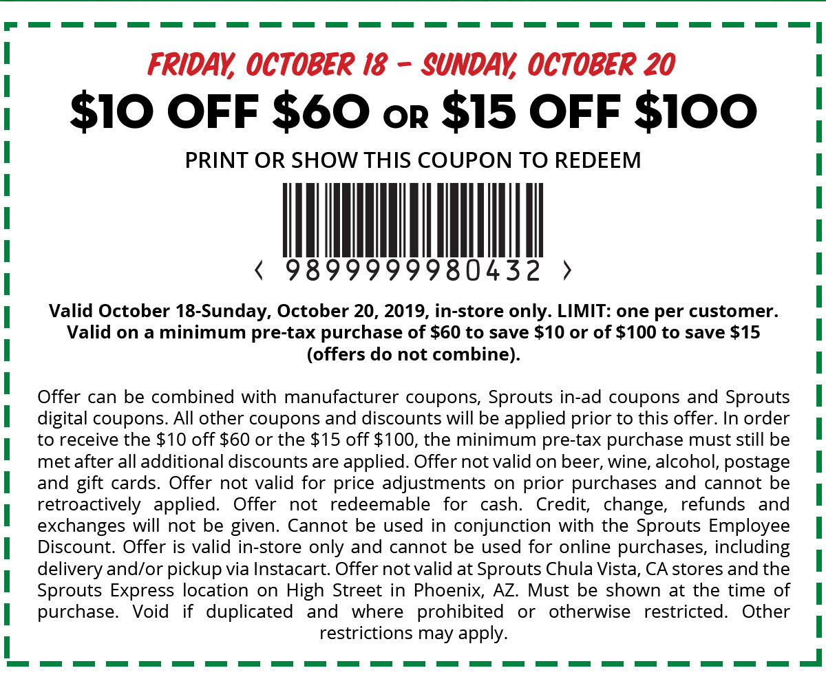 $10 off $60 or $15 off $100 Coupon