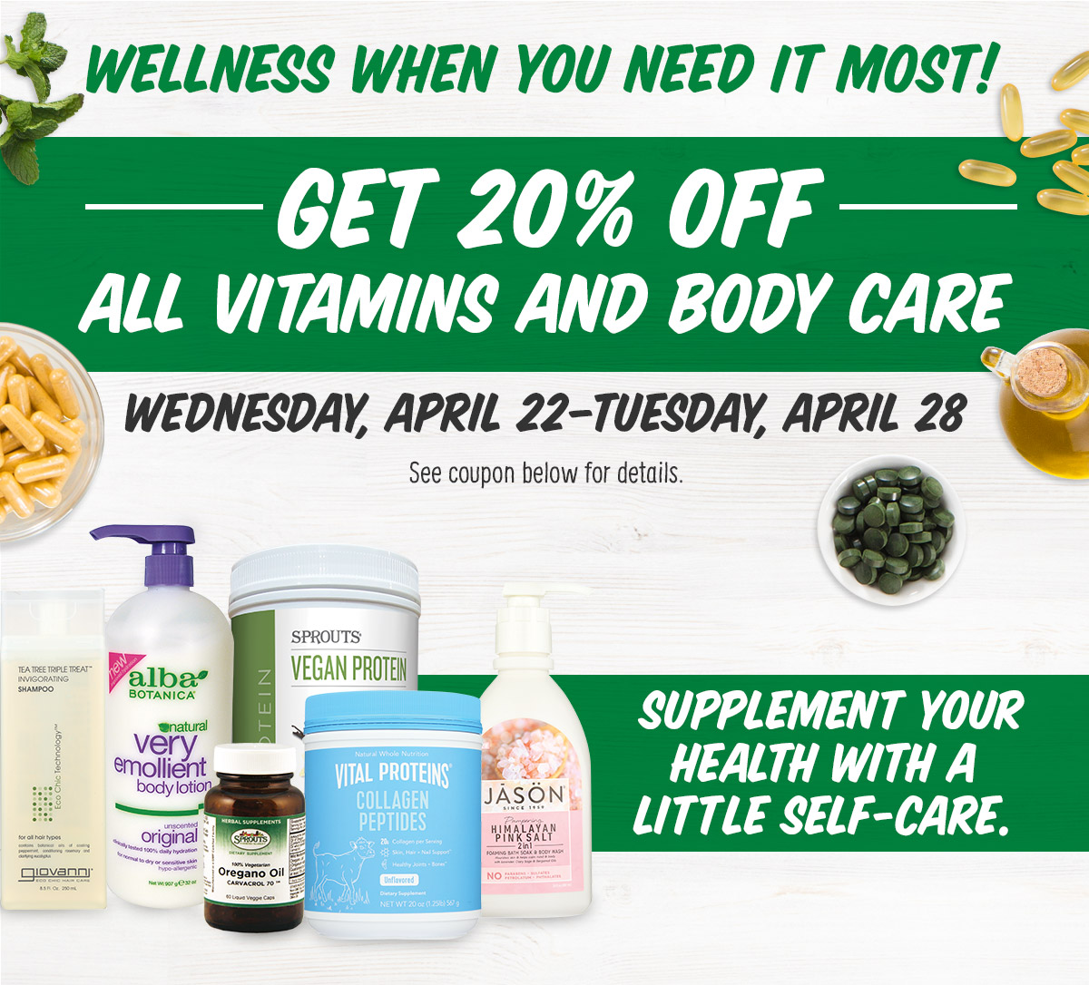 Get 20% Off All Vitamins and Body Care