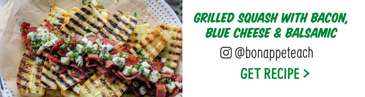 Grilled Squash with Bacon, Blue Cheese & Balsamic